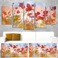 Designart 'Cute Poppy Flowers in Sunlight' Large Flower Canvas Artwork - Red