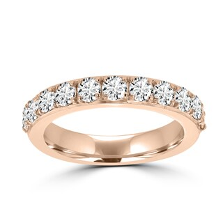 La Vita Vital 14K Rose Gold 3/4ct TDW Round Diamond Wedding Band - White G-H