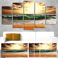 Designart 'Raging Green Waves At Sunset' Large Seashore Canvas Print