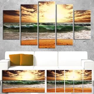 Designart 'Raging Green Waves At Sunset' Large Seashore Canvas Print