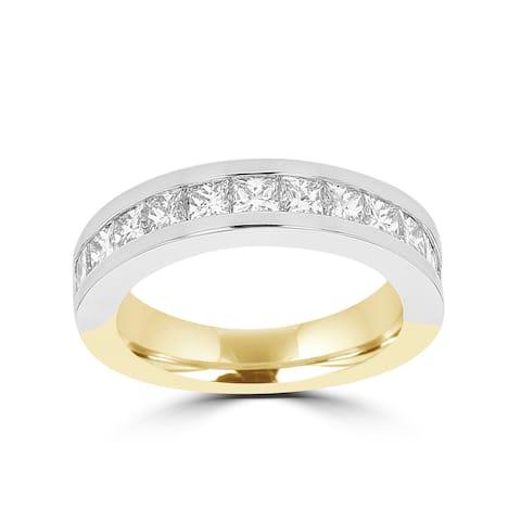 La Vita Vital 14k White/Yellow Gold Diamond 1 7/8ct TDW Wedding Band
