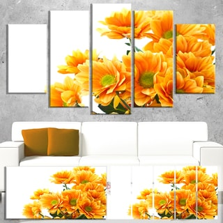 Designart 'Orange Flowers Chrysanthemum' Modern Flower Canvas Art Print