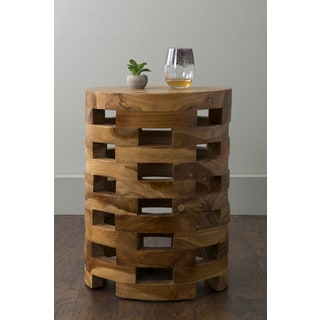 East At Main's Homer Brown Teakwood Round Accent Table