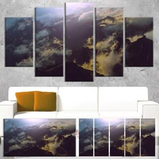 Designart 'Mountain Above the Clouds View' Landscape Art Print Canvas