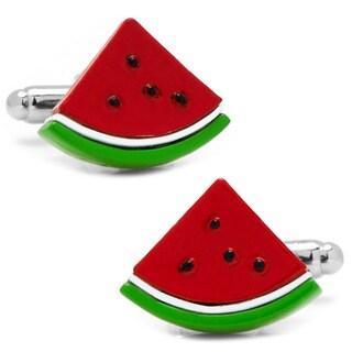 Cufflinks Inc Watermelon Slice Silverplated and Enamel Cufflinks