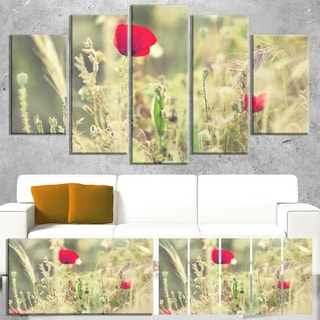 Designart 'Meadow with Wild Poppy Flowers' Large Flower Wall Artwork