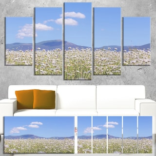 Designart 'Chamomiles with Hills on Background' Large Flower Wall Artwork