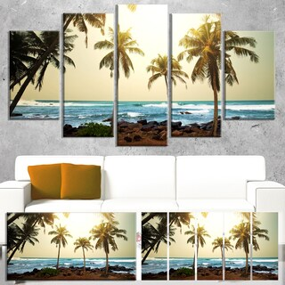 Designart 'Rocky Tropical Beach with Palms' Seashore Wall Art Print