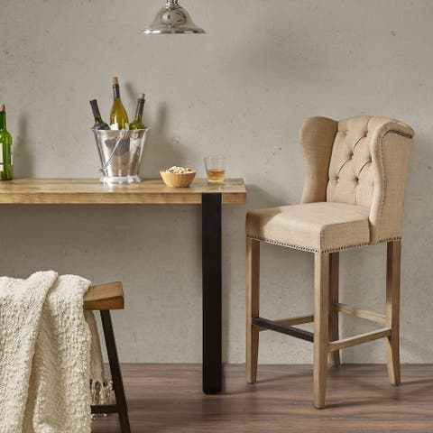 """Madison Park Lydia Sand Tufted Wing 30-Inch Bar Stool - 19.25""""w x 21.25""""d x 44.75""""h"""