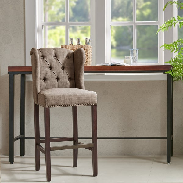 Madison Park Lydia Taupe Tufted Wing 30 Inch Bar Stool