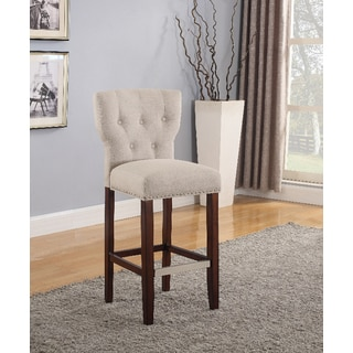 Ethan Dark Brown Wood and Natural Linen 30-inch Barstools (Set of 2)