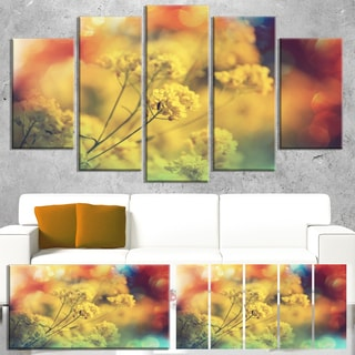 Designart 'Light Little Yellow Flowers Background' Large Flower Wall Artwork