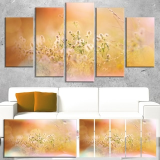 Designart 'Wild Purple Flowers on Light Background' Large Flower Wall Artwork