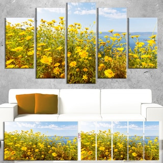 Designart 'Little Yellow Flowers over Seashore' Large Flower Wall Artwork