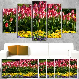 Designart 'Red Tulips with Yellow Purple Flowers' Large Flower Wall Artwork
