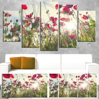 Designart 'Poppy Flowers on Summer Meadow' Floral Artwork on Canvas - Red