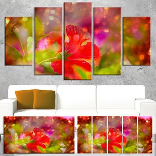 Designart 'Beautiful Red Rural Summer Flowers' Floral Artwork on Canvas