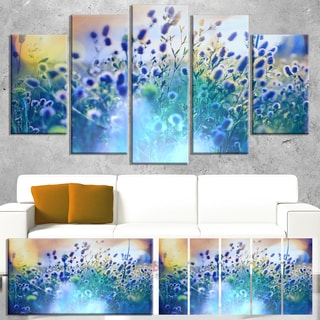 Designart 'Blue Summer Flowers on Meadow' Floral Artwork on Canvas