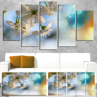 Designart 'White Blossoming Cherry Tree' Floral Artwork on Canvas - White