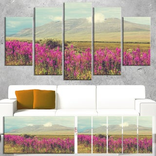 Designart 'Purple Flowers and Distant Mountains' Floral Artwork on Canvas
