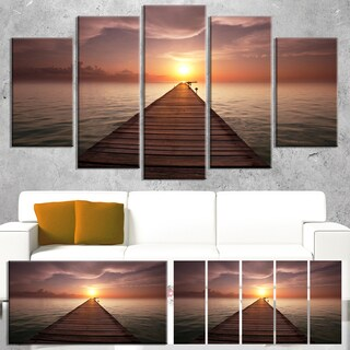 Designart 'Seashore Boardwalk into the Sun' Large Seashore Canvas Art