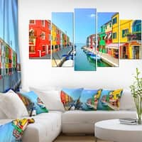 Colorful Burano Island Canal Venice' Extra Large Landscape Canvas Art - Red