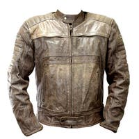 Perrini Men's Brown Genuine Buffalo Leather Motorbike/Biker Jacket