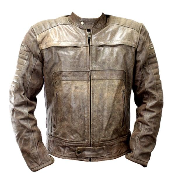 Perrini Men's Brown Genuine Buffalo Leather Motorbike/Biker Jacket