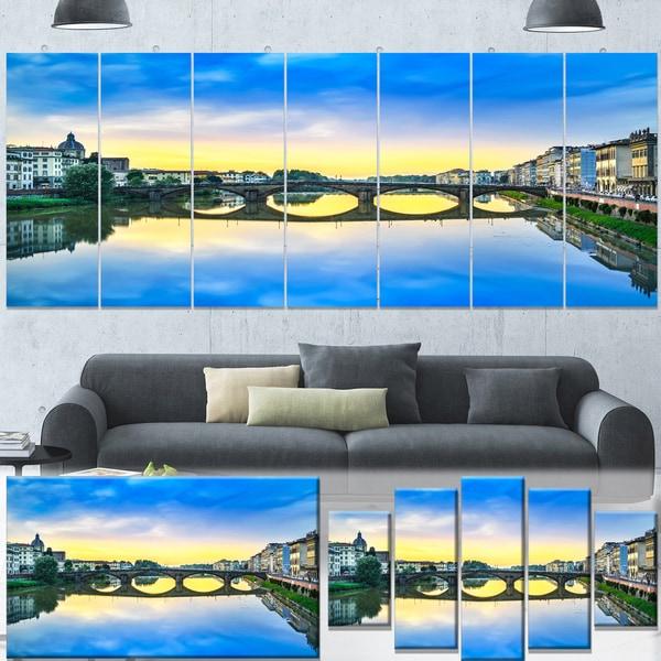 Designart 'Carraia Medieval Bridge on Arno River' Beach Canvas Wall Art