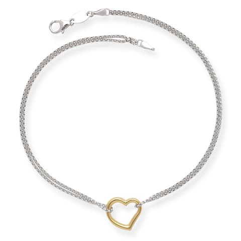 Sterling Silver and 14k Yellow Gold 10-inch Floating Heart Rolo Chain Anklet