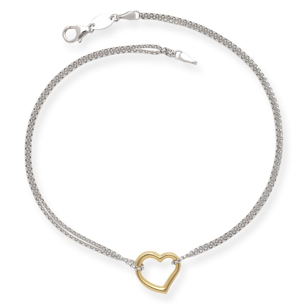 1d273a1abed Shop Sterling Silver and 14k Yellow Gold 10-inch Floating Heart Rolo Chain  Anklet - On Sale - Free Shipping Today - Overstock - 13253357