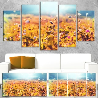 Designart 'Little Mountain Flowers on Sunny Day' Large Flower Canvas Wall Art
