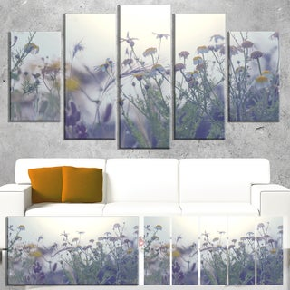 Designart 'Summer Flowers in Foggy Light' Large Flower Canvas Wall Art