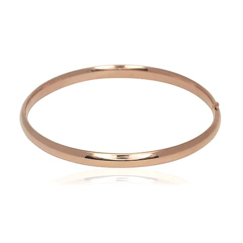 14k Rose Gold Polished Hinged 7-inch Bangle Bracelet - Pink