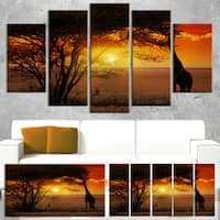 Designart 'Typical African Sunset with Giraffe' Oversized African Landscape Canvas Art - Red