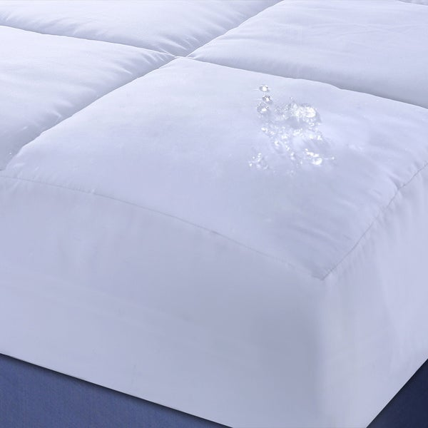 Nanofibre Polyester Microfiber Down Alternative Water and Stain Resistant Mattress Pad - White