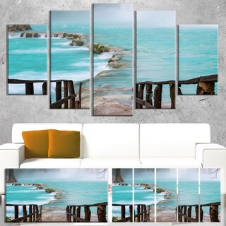 Designart 'Old Bridge into Mexico Waterfall' Large Seashore Canvas Art