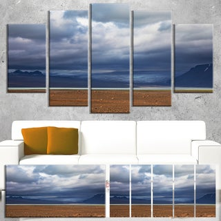 Designart 'Stretch of Land under Blue Sky' Landscape Artwork Canvas