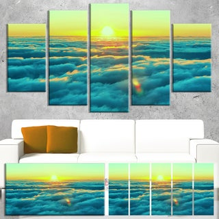 Designart 'Beautiful Sunset over Blue Clouds' Landscape Art Print Canvas