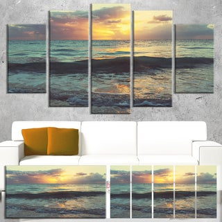 Designart 'Colorful Bluish Waters At Sunset' Seashore Canvas Wall Artwork