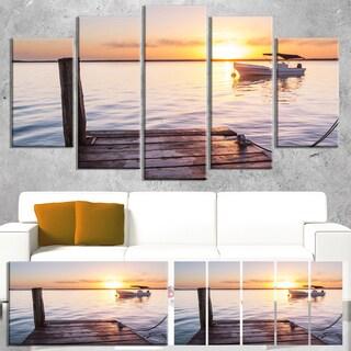 Designart 'Boat View From Boardwalk on Beach' Large Seashore Canvas Art