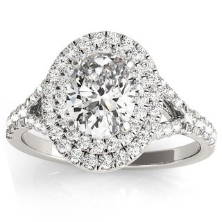 Transcendent Brilliance 14k White Gold 0.90ct TDW Oval Diamond Split Shank Double Halo Engagement Ring (G-H, VS1-VS2)
