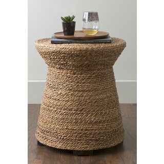 East At Main's Divine Brown Abaca Round Accent Table