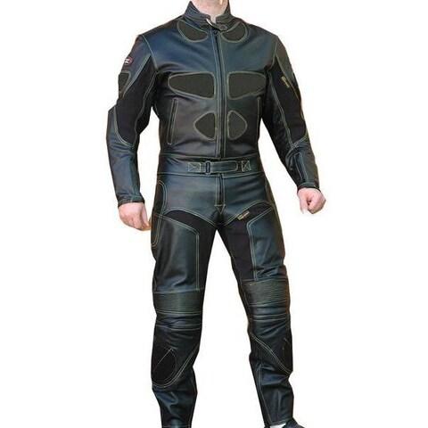 Perrini Black Leather 2-piece Motorcycle Racing Suit