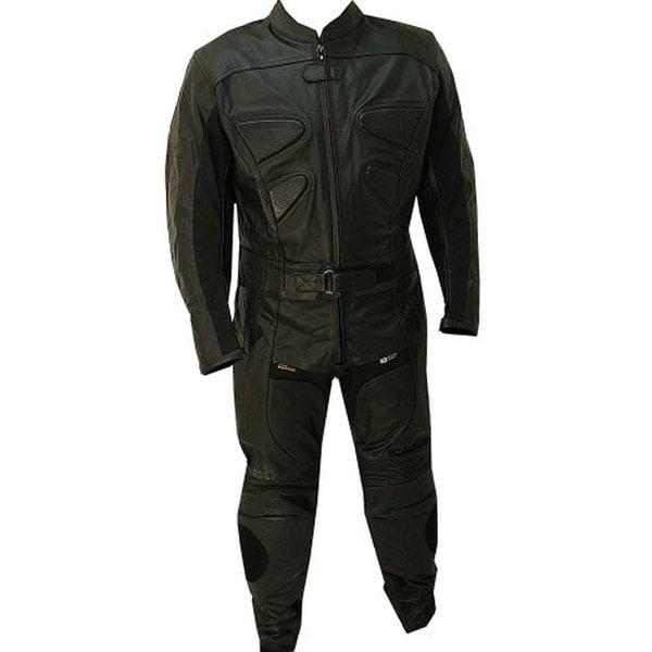 Defender Perrini Black Leather 2-piece Alienator Motorcycle Racing Suit