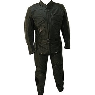 Defender Perrini Black Leather 2-piece Alienator Motorcycle Racing Suit