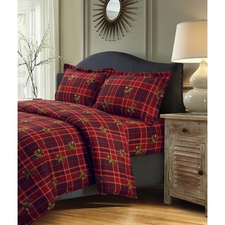 Vintage Plaid Printed Cotton Flannel Twill 3-piece Oversize Duvet Cover Set