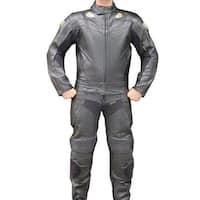 Perrini Black Leather 2-piece Motorcycle Riding/Racing Track Suit with Padding