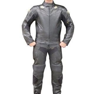 Perrini Black Leather 2-piece Motorcycle Riding/Racing Track Suit with Padding 21969040