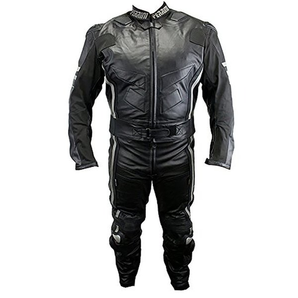 Defender Perrini Ghost II Motorcycle Racing 2-piece Leather Suit with Metal Waist Zipper